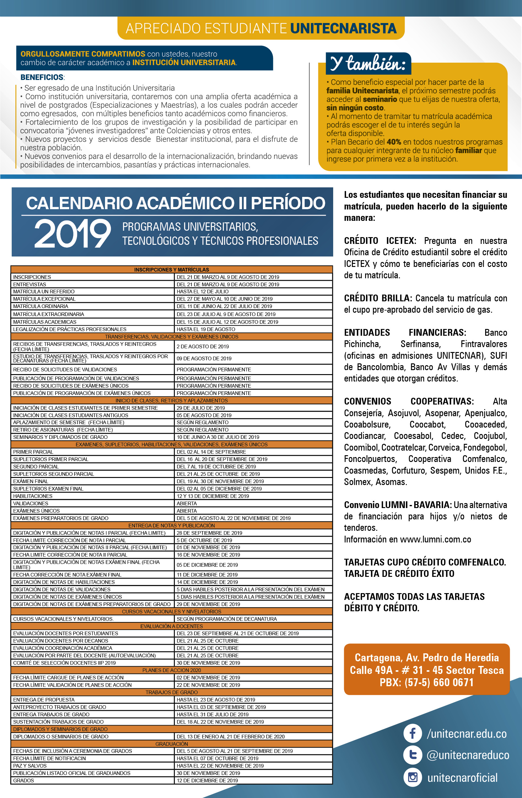 Calendario Universitario.Calendario Academico Fundacion Universitaria Antonio De